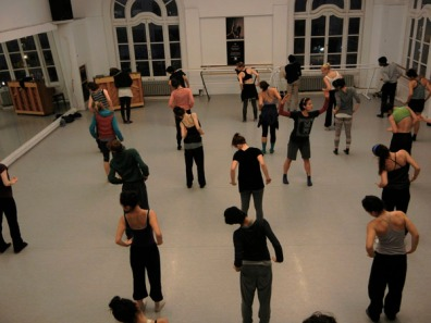 Monica Proenca rehearsing with LINES Ballet Training Program students