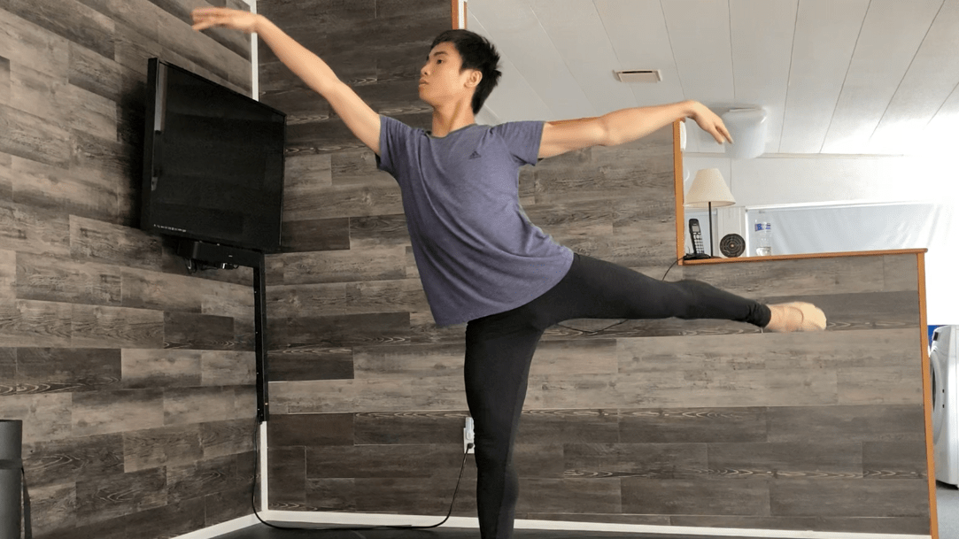 2021 Teens at LINES student Cardin Chung in arabesque in his home studio